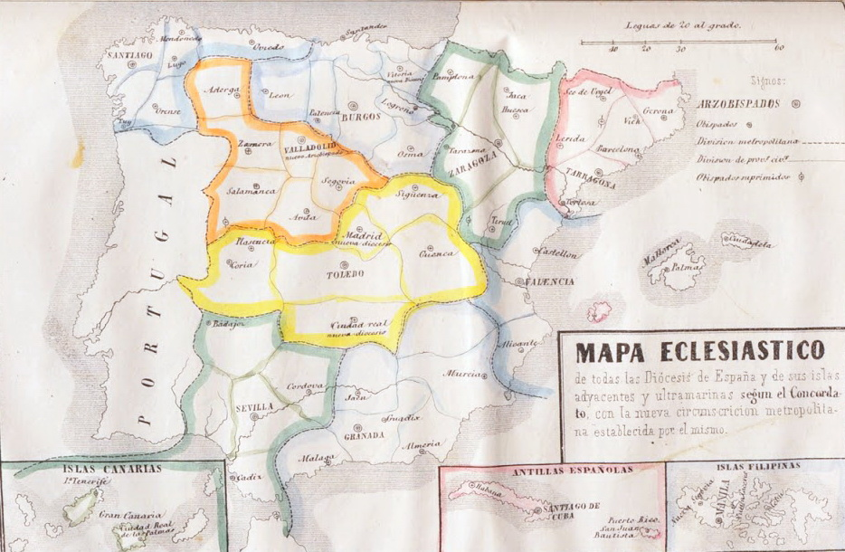 Mapa eclesiastico posterior concordato