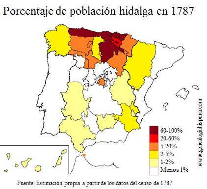 Porcentaje de hidalgos en España