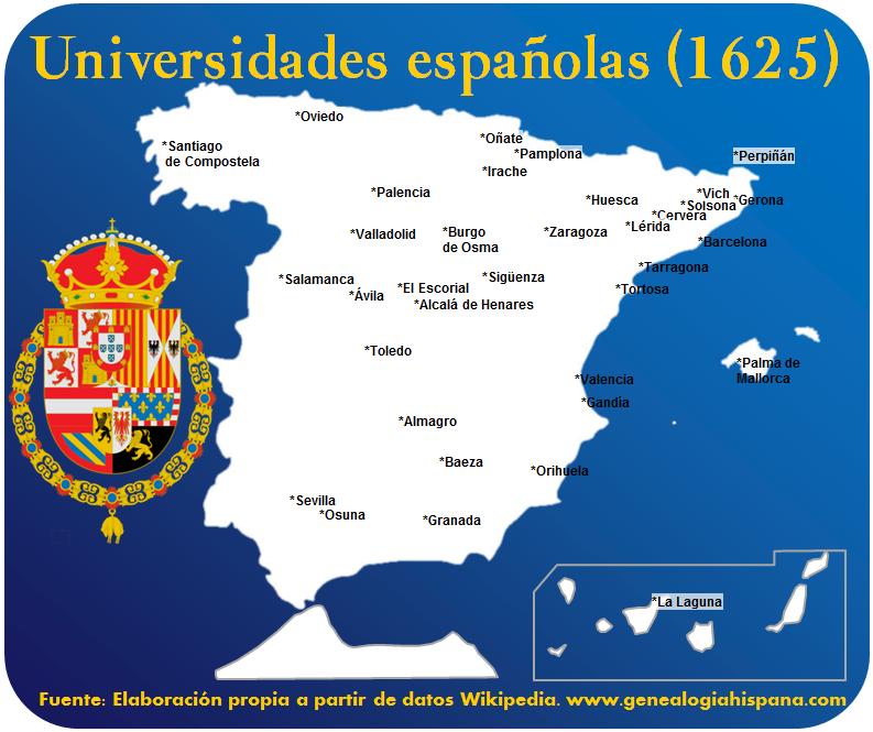 Universidades de España en 1625