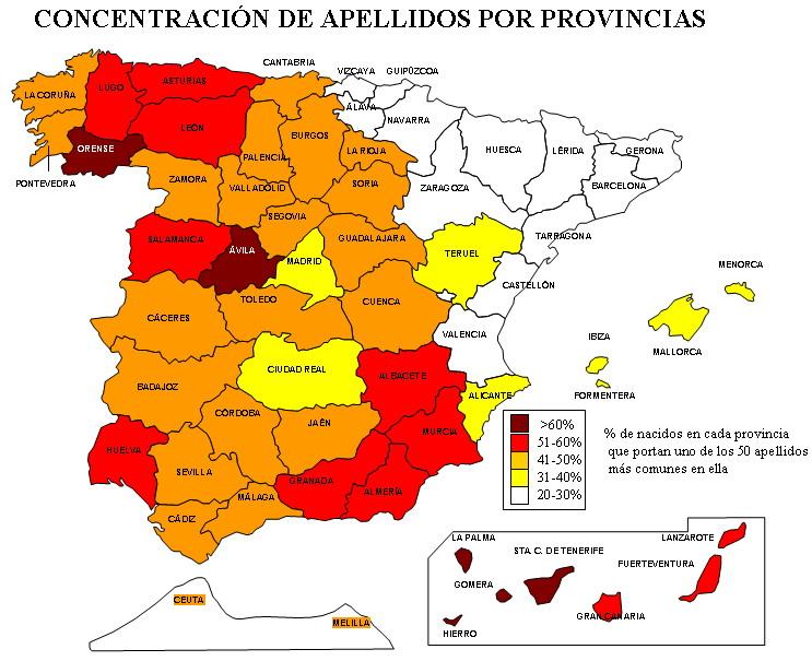Concentracion de apellidos por provincias