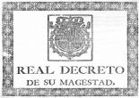 Portada del Real Decreto instruyendo el Catastro de Ensenada